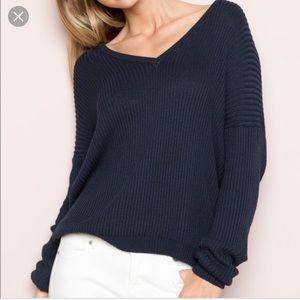 Brandy Melville Navy V Neck Sweater